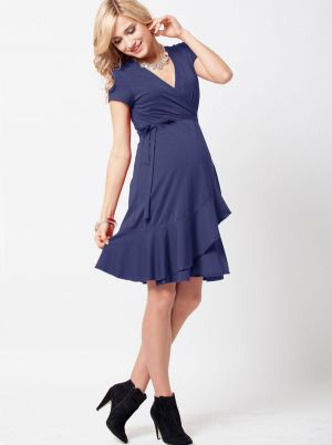 Angel Maternity Maternity Nursing Wrap Dress - Navy Blue.jpg
