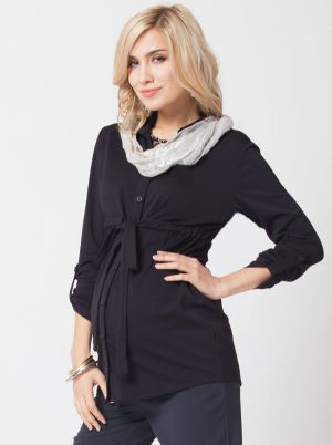 Angel Maternity Maternity Shirt in Ponti - Black.jpg