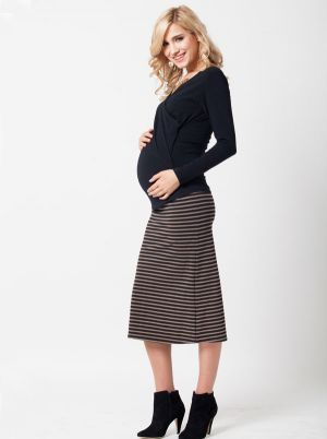 Angel Maternity Maternity Skirt in Tube Style in Black Brown Stripe.jpg