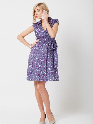 Angel Maternity Maternity Wrap Dress in Cotton- Purple Circle Print.jpg