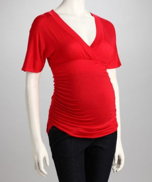 Janine Maternity Red Ruched Maternity Top.jpg