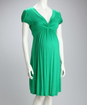 Jesse Maternity Green Knotted Maternity Cap-Sleeve Dress.jpg