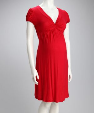 Jesse Maternity Red Knotted Maternity Cap-Sleeve Dress.jpg