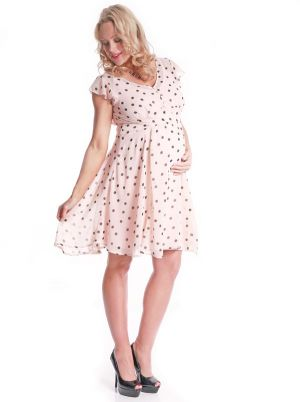 Kate Middleton inspired Angel Maternity Chiffon Dress in Light Pink with polka dot.jpg