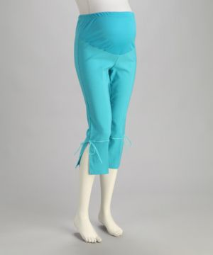 QT Maternity Turquoise Side-Tie Over-Belly Maternity Capri Pants.jpg