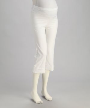 QT Maternity White Cuffed Mid-Belly Maternity Capri Pants.jpg