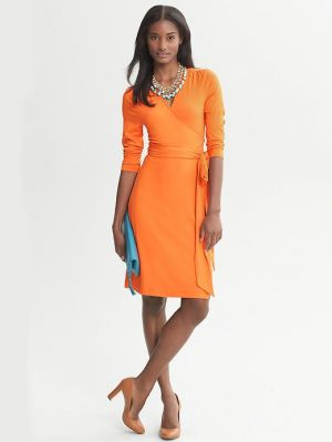 Banana Republic Gemma Wrap Dress orange.jpg