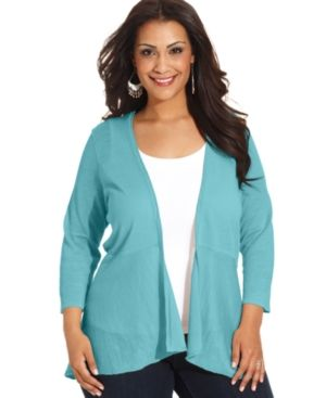 Blue Charter Club Plus Size Sweater Three-Quarter-Sleeve Cardigan.jpg