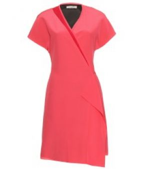 Bouchra Jarrar salmon pink silk wrap dress.jpg