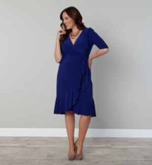 Casual Evening Whimsy Wrap Dress Blue Plus Size - Kiyonna.jpg