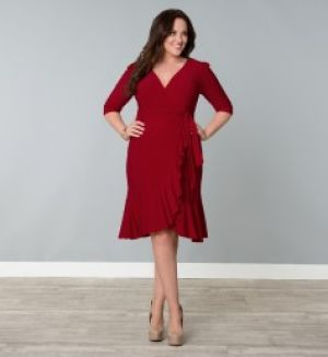 Casual Evening Whimsy Wrap Dress Red Plus Size.jpg