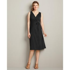 Eddie Bauer Womens Knit Wrap Dress - Solid Black.jpg
