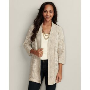 Eddie Bauer Womens Open-Stitch Drape Cardigan Sweater Sweater Wheat.jpg