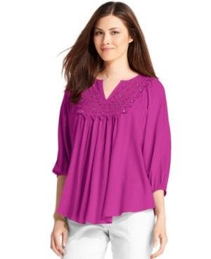 Grace Elements Top Three-Quarter-Sleeve Peasant Blouse.jpg