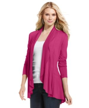 Hot pink INC International Concepts Cardigan Long-Sleeve Draped Cascade.jpg