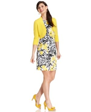 Jessica Howard Petite Dress and Cardigan Sleeveless Printed Sheath.jpg
