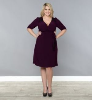 Kiyonna Julieanne Wrap Dress - Plum Black Womens Plus Size.jpg