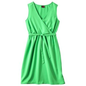 Mangrove Green Merona Womens V-Neck Sleeveless Wrap Dress.jpg