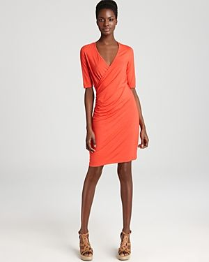 Orange Three Dots Elbow Sleeve Faux Wrap Dress.jpg
