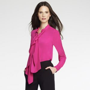 Pink Anne Klein Long Sleeve Cascade Blouse.jpg