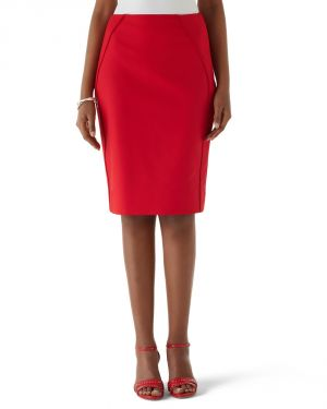 Red Womens Flame Perfect Form Flame Pencil Skirt by White House Black.jpg