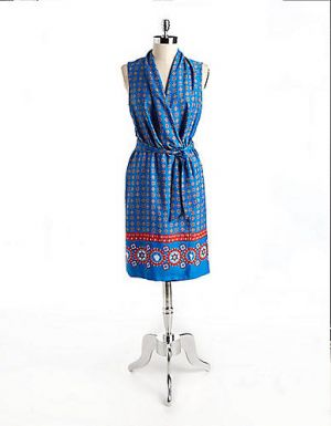 Sleeveless Printed Wrap Dress - Anne Klein.jpg