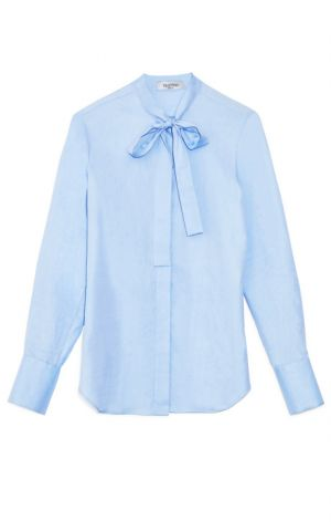 Valentino Light Blue White Cotton Blouse.jpg