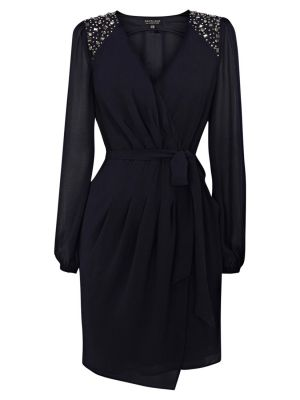 Warehouse Shoulder Wrap Dress Midnight.jpg