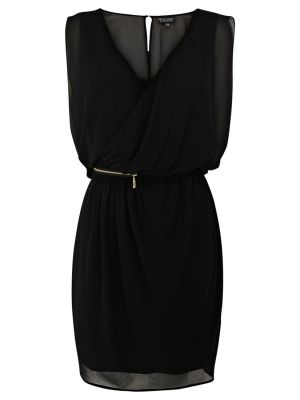 Warehouse Zip Detail Chiffon Wrap Dress.jpg