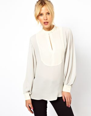 White ASOS Blouse With Contrast Keyhole Bib.jpg