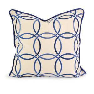 Best decorating blogs - Circles linking pattern - CC Home Furnishings Decorative Cream and Blue Embroidered Down.jpg