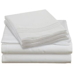 Best decorating blogs - Clara Clark 1800 Piping Sheet Set - Queen Size Bed Sheet Set White.jpg