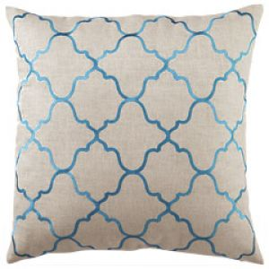 Blue greige DL Rhein Moroccan Tile Turquoise Embroidered Linen Pillow.jpg