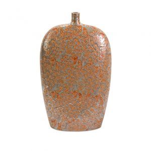 CC Home Furnishings - Adalie Coral-Colored Vine and Leaf Pattern Ceramic vase.jpg