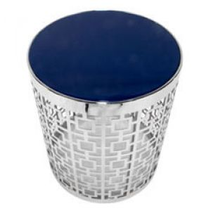 Jonathan Adler Nixon Blue White End Table chrome patterned lattice silver.jpg