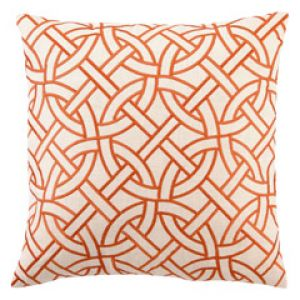 Tangerine white coral - DL Rhein Circle Link Orange Embroidered Linen Pillow.jpg