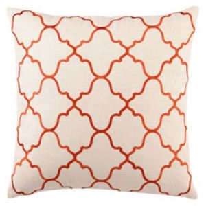 apartment decor - DL Rhein Moroccan Tile Orange Embroidered Linen Pillow coral tangerine.jpg