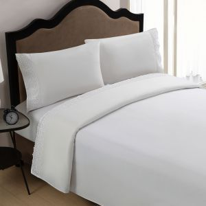 apartment decor - Victoria Classics Annie 4-Piece Sheet Set Queen Sheet Set White.jpg