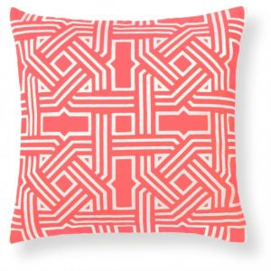 home & garden - C. Wonder Embroidered Lattice Pillow Cover - salmon pink coral.jpg