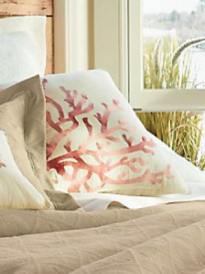 home decorating blogs - LinenSource Coral Shells Square Pillow.jpg