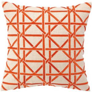 home decorating blogs - Peking Cane Orange Embroidered Linen Pillow.jpg