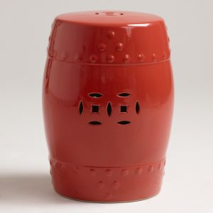 shop online for homewares - Coral tangerine - Cost Plus World Market Deep Coral Ceramic Lotus Stool.jpg