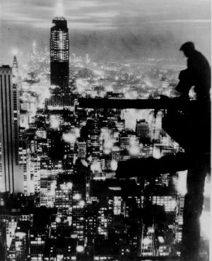 Black and white photos - New York man on building site of skyscraper.jpg