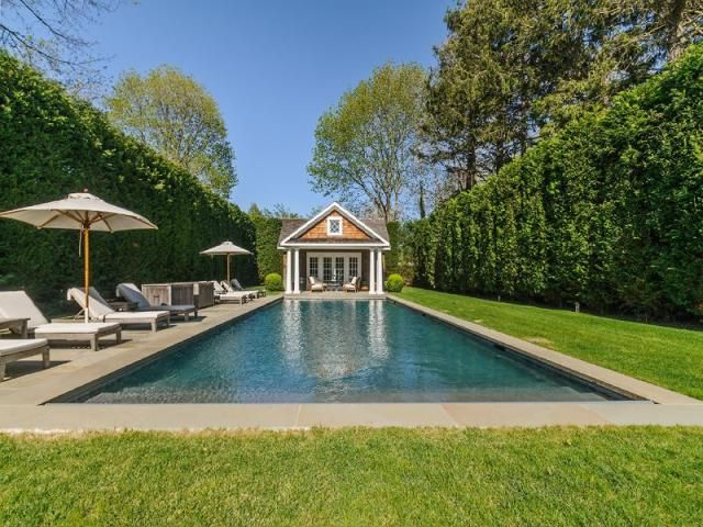 Celebrity homes - Brooke Shields house - Southhampton - pool and garden.jpg