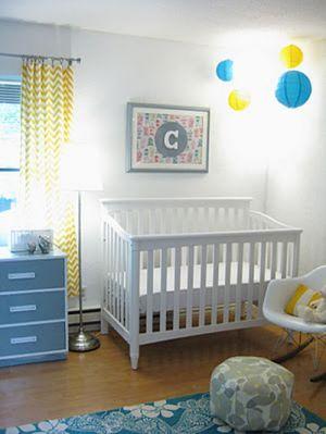 blue-yellow-modern-gender-neutral-baby-nursery-crib-corner-with-paper-lanterns.JPG