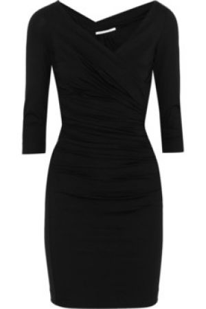 Black Diane von Furstenberg Bentley pleated stretch-jersey dress.jpg