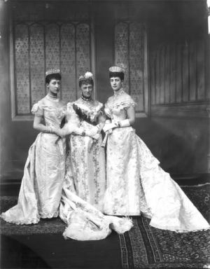 Alexandra her mother the Queen of Denmark and her daughter the Duchess of Fife at Queen Marys wedding.jpg