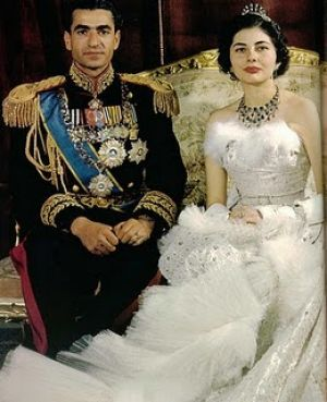 Mohamed Reza Pahlavi Shah of Iran and Queen Soray Wed in 1951 gown designed by Christian Dior.jpg