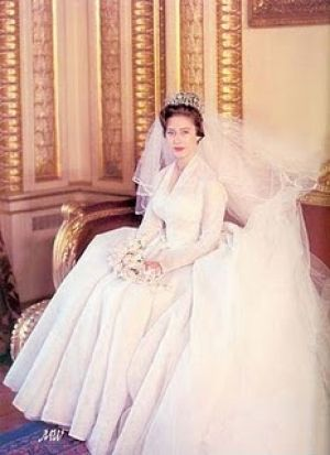 Princess Margaret and Anthony Armstrong Jones wed in 1960 wearing a Poltimore Tiara and gown by Norman Hartnell.jpg