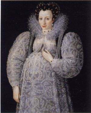 Middle Ages historical maternity clothes - Unknown_Lady_c._1595 Elizabethan.jpg